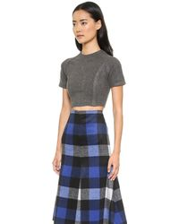 Shades Of Grey By Micah Cohen Crop Top  Charcoal - Lyst