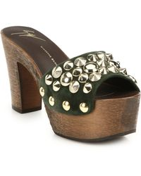 Giuseppe Zanotti Studded Suede Wooden Platform Sandals - Lyst