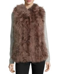 Jocelyn Hooded Feather Vest - Lyst
