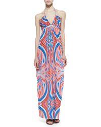 Cusp Printed Halter Maxi Dress - Lyst