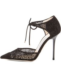 Jimmy Choo Void Mesh Suede Pumps - Lyst