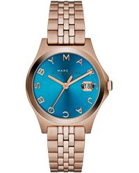 Marc By Marc Jacobs 30mm The Slim Rose Golden Watch with Bracelet Turquoise Dial - Lyst