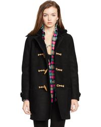 Ralph Lauren Hooded Shearling Toggle Coat - Lyst