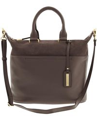 Banana Republic Harper Mixed Media Satchel Charcoal - Lyst