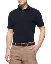 Brunello Cucinelli Fine Pique-knit Polo Shirt - Lyst