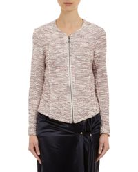 Barneys New York Tweed Zipfront Jacket - Lyst