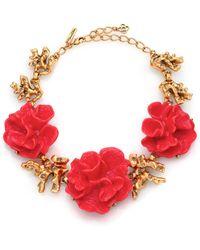 Oscar de la Renta Coral Flower Necklace - Lyst