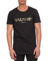 Balmain Logo Print Cotton Jersey Tee black - Lyst