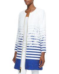 Milly Striped Degrade Tweed Zip Coat - Lyst