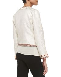 Michael Simon - Brocade Jacket With Bead Trim - Lyst