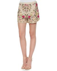 Haute Hippie Woven Floral-Embroidered Shorts - Lyst