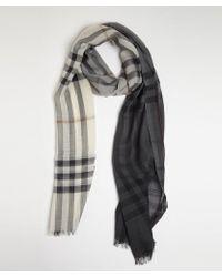 Burberry Grey and White Nova Check Wool-silk Gauze Scarf - Lyst