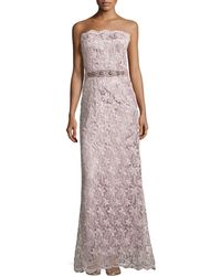 Teri Jon Belted Lace Strapless Gown - Lyst
