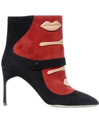 Giannico | 85mm Lola Lips Suede Ankle Boots | Lyst