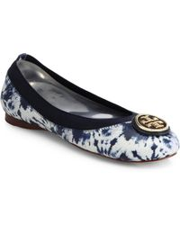 Tory Burch Caroline Printed Leather Ballet Flats - Lyst