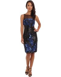 Badgley Mischka Floral Sequin Cut Out Cocktail - Lyst