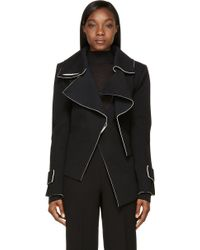 Costume National Black and White Felted Asymmetric Trench Jacket - Lyst