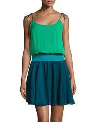 Halston Heritage Tie-Shoulder Colorblock Silk Dress - Lyst