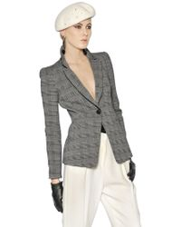 Giorgio Armani Prince Of Wales Check Cotton Wool Jacket - Lyst