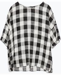 Zara Checked Linen Top - Lyst