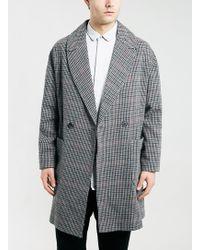 Topman Houndstooth Textured Coat - Lyst