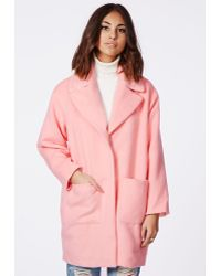 Missguided Lena Oversized Cocoon Coat Pink - Lyst