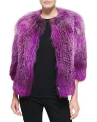 Prabal Gurung Fox Fur Front-Zip Jacket - Lyst