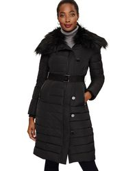 Phase Eight - Black Malina Long Metal Button Puffer - Lyst
