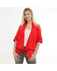 Feverfish - Red Linen Waterfall Jacket - Lyst