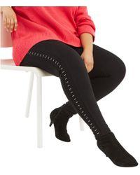 Oasis - Black Curve Studded Side Leggings - Lyst
