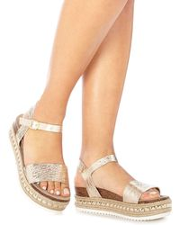 fd62924bc222 Faith - Gold Leather  jossy  Mid Flatform Heel Ankle Strap Sandals - Lyst