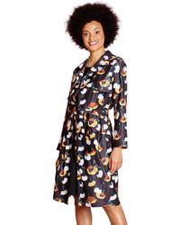 Yumi' - Black Woven Poppy Printed 'layla-mae' Trench Coat - Lyst