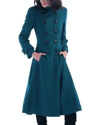 Jolie Moi - Turquoise Double Breasted Flare Coat - Lyst