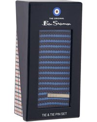 Ben Sherman - Navy Knitted Striped Skinny Tie And Pin Set - Lyst