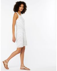 Monsoon - Ivory 'perry' Embellished Short Dress - Lyst