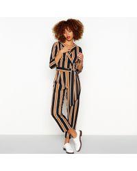 dc1c7bc981 Red Herring - Black Stripe Print Collared Jumpsuit - Lyst