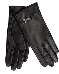 J By Jasper Conran - Black Buckle Detailed Leather Gloves - Lyst