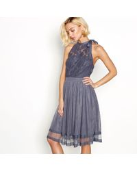 Vila - Blue Lace Halterneck 'vizinnia' Dress - Lyst
