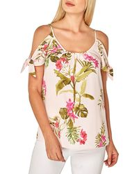 Dorothy Perkins - Blush Penny Palm Tie Cold Shoulder Top - Lyst