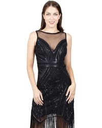 Izabel London - Black Open Back Sequin & Embellished Dress - Lyst