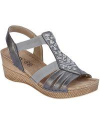 Lotus - Grey 'saltaran' Mid Wedge Heel T-bar Sandals - Lyst