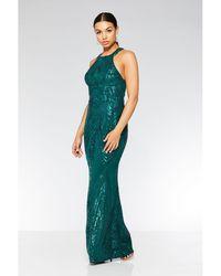 Quiz - Olivia's Bottle Green Sequin High Neck Fishtail Maxi Dress - Lyst