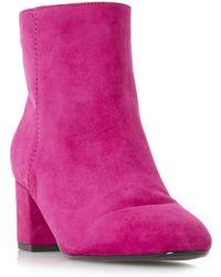 Dune - Pink 'olyvea' Mid Block Heel Ankle Boots - Lyst