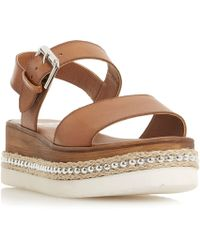 Dune - Tan Leather 'kool' Wedge Heel Ankle Strap Sandals - Lyst