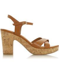 3fe28779db0 Dune - Tan  joany  High Block Heel Ankle Strap Sandals - Lyst