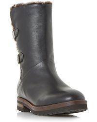 Dune - Black 'raylan' Faux Fur Lined Double Buckle Calf Boots - Lyst