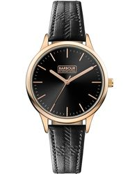 Barbour - Ladies Black 'emberton' Leather Strap Watch - Lyst
