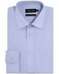 Double Two - Big And Tall Light Blue Cotton Rich Non-iron Shirt - Lyst