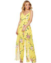 Quiz - Yellow And Pink Floral Split Leg Jumpsuit - Lyst