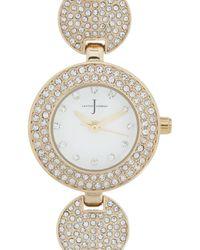 J By Jasper Conran - Ladies Designer Gold Plated Pave Disc Bracelet Watch - Lyst